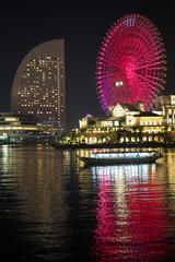 Kanagawa,Japan-December 1, 2019: Colorful Ferris Wheel at night
