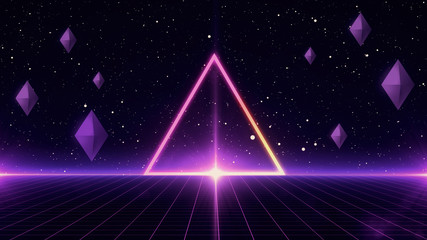 80s Retro Sci-Fi Background Futuristic Grid landscape. Digital cyber surface style of the 1980`s. 3D illustration Fotomurales
