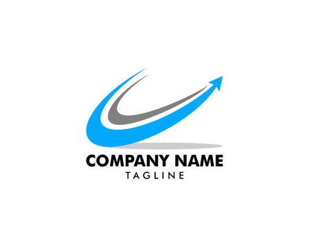 Swoosh Arrow Up Logo Template Design