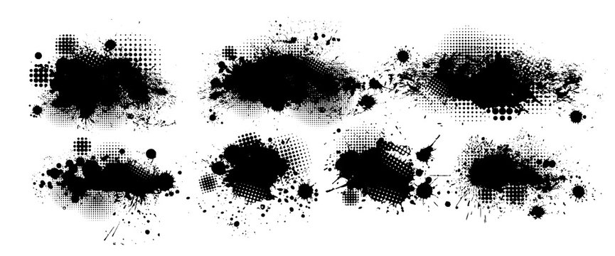 Set of blots. Black spots of paint on a white background. Grunge frame of paint. Vector illustration.