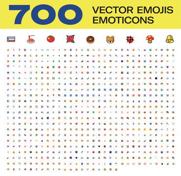 Over Than 700 Vector Emojis, All Type Emoticons, Vector Icons
