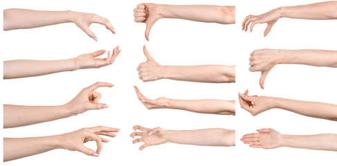 Multiple images set female caucasian hands isolated white background showing different gestures. Collage of hands of a girl with manicure