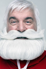 Close-up of the face of a Santa Claus