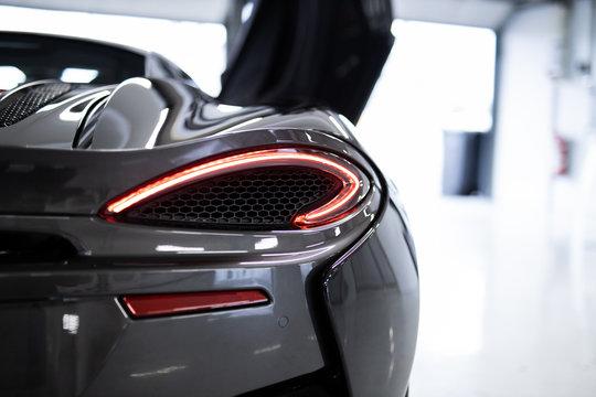 Hockenheim / Germany 12.01.2019 Details of McLaren 520S Luxury Sports Car Rear with Brake Light