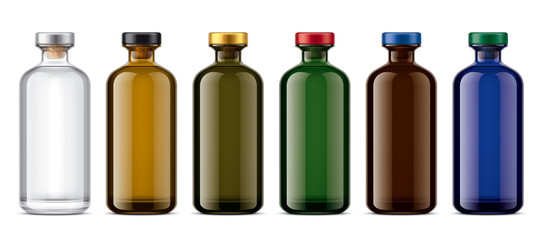Set of Colored Glass bottles. Version with colored Cork.