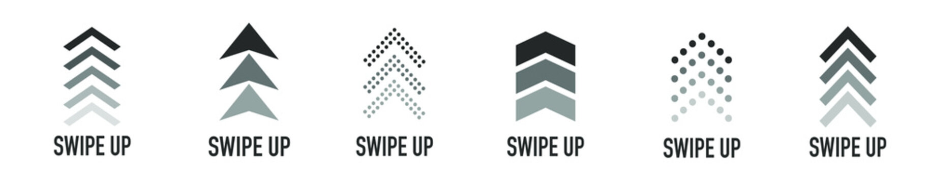 Arrow up for social media stories, design blogger, scroll pictogram. Set of Black Swipe Up icon. Scroll pictogram. Stories swipe button. Text swipe up
