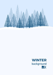 Winter landscape background with fir tree and snow in mountain. Christmas. Vertical abstract vector illustration.