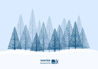 Foto auf Leinwand Himmelblau Winter landscape background with fir tree and snow in mountain. Christmas. Abstract vector illustration.