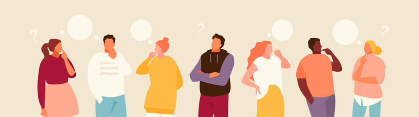 Group of cartoon thoughtful people. Problem solving and choice. Vector modern illustration.