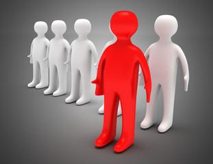 3d team leader concept . 3d illustration