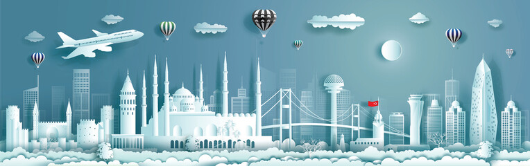 Wall Mural - Travel to Turkey landmarks of europe with panorama view background.