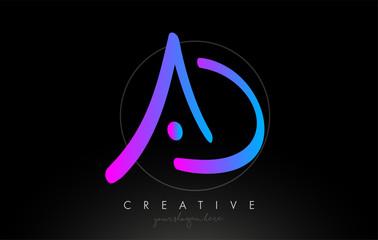 AD Artistic Brush Letter Logo Handwritten in Purple Blue Colors Vector