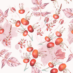 Vector botanical pattern with wild rose berries