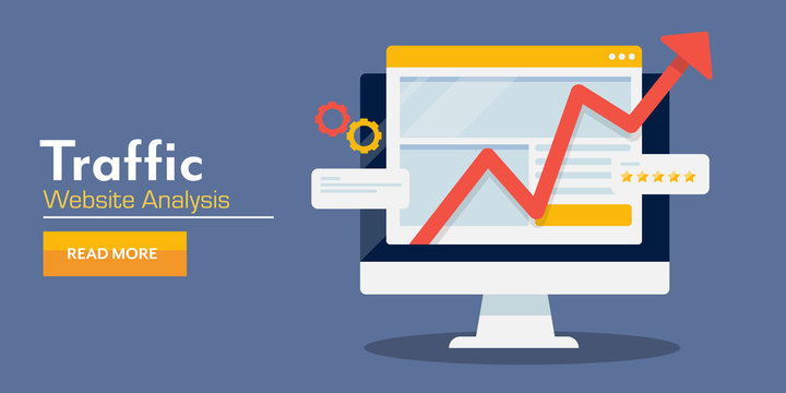 Website analysis, web traffic growth, seo optimization, data, information concept. Internet web banner template.