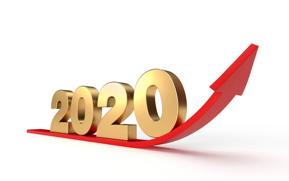 Financial and economic growth in 2020 year with red arrow curving upwards. 3d illustration golden numbers