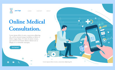 Online medical consultation vector, patient using cell phone chatting with doctor. Doc helping sick person with help of internet and gadgets. Website or webpage template, landing page flat style