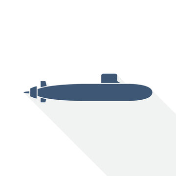 submarine vector icon, navy, boat, ship, army concept flat design illustration