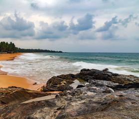 Low tide at sunset ocean wave
