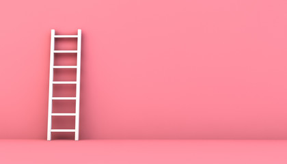 step ladder on a pink wall