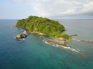 Aerial view Bom Bom island and coast, Sao Tome