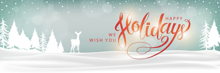 Happy Holidays Winter Landscape Background. Christmas lettering banner. XMas Greeting Card