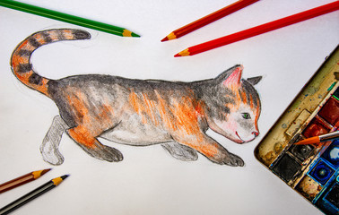 a watercolor picture of little cat with pencils and colors