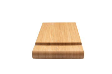 Wooden stand for smartphone isolated on white background. Front view.