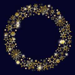 Golden Snowflakes Stars Ring Blue Christmas Background