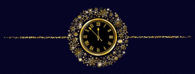 Golden Snowflakes Stars Clock Blue Christmas Header