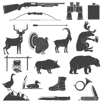 Set of Hunting equipment and animal icon silhouette. Vector. Set include deer, bear, boar, goat, turkey, duck, goose, hunter weapons, knife, mountains isolated on white.