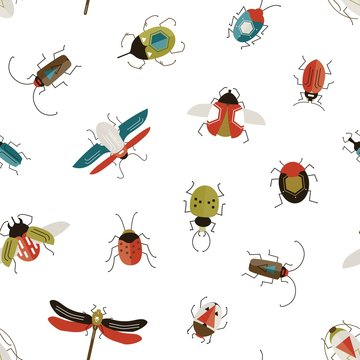 Bugs and beetles vector seamless pattern