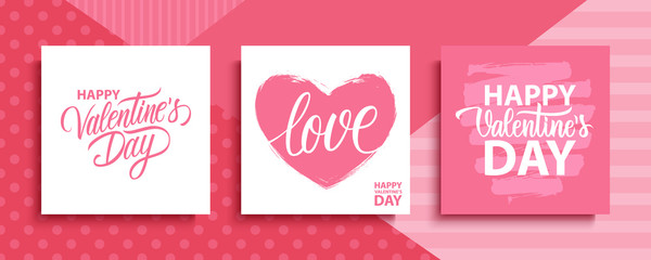 Canvas Prints Positive Typography Valentines Day romantic cards set. Happy Valentine's Day, 14 february holiday lettering greetings. Vector Illustration.