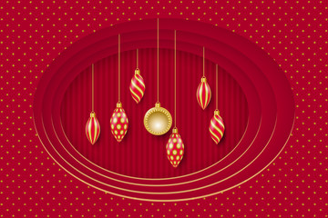 Greeting card for Christmas and New Year. Golden christmas decorations. Vector illustration EPS10