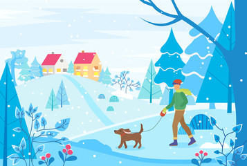 Winter cityscape with houses on hill. Man walking dog on leash. City landscape with trees and bushes. Frosty day in cold season of year. Strolling and relaxing male. Vector in flat style illustration