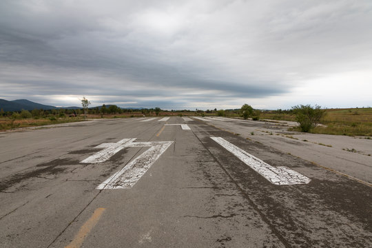 Runway abandoned military airfield Zeljava in Croatia