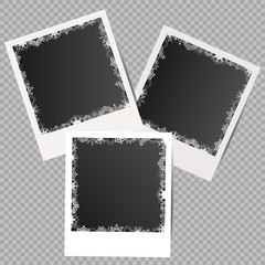 Set of winter white photo frames with shadows