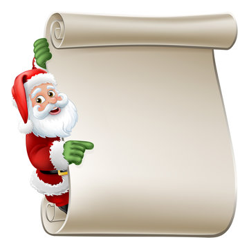 Santa Claus Christmas cartoon character peeking around a scroll sign and pointing at it