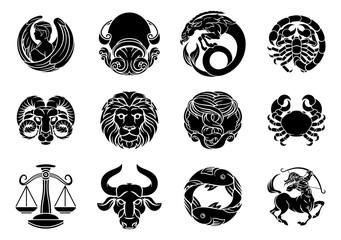 Zodiac horoscope astrology star signs symbols icon set