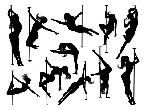 A set of women pole dancers exercising for fitness in silhouette