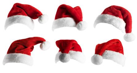 Printed roller blinds Christmas Santa Hat set over white