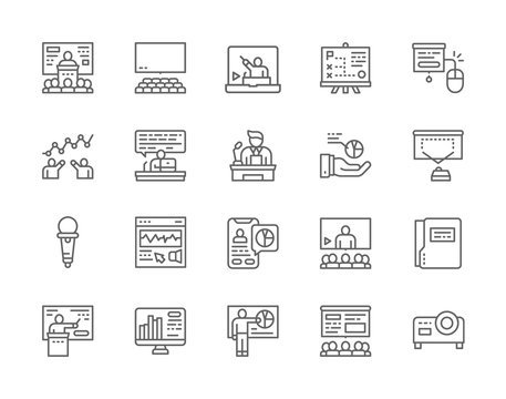 Set of Business Presentation Line Icons. Assembly Hall, Microphone, Seminar