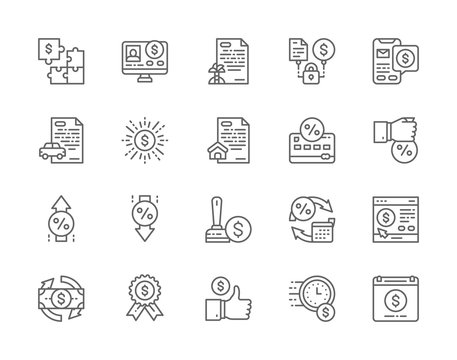 Set of Quick Loan Line Icons. Investment, Car Loan, Mortgage, Deposit and more.