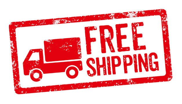A red stamp on a white background - Free shipping
