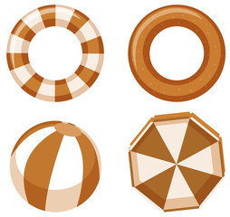 Isolated safety rings and ball in brown color