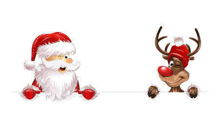 Weihnachten Weihnachtsmann Rudulph unten eps10 Illustration vektor