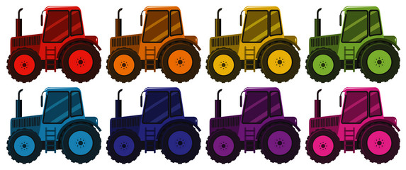 Set of tractors in eight different colors
