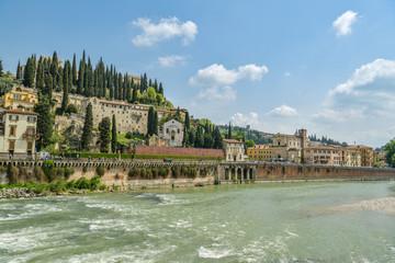 Castel San Pietro above the Adige river in Verona, Italy