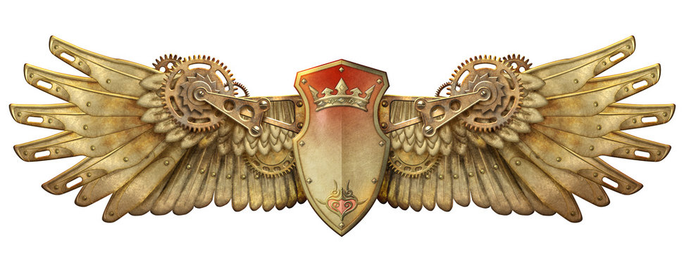 Steampunk mechanical wings - isolated on white background