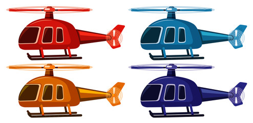 Set of four pictures of helicopters in different colors