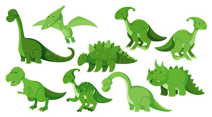 Large set of different types of dinosaurs in green